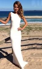 Rückenfreies Mantel Chiffon Langes Brautkleid Formelles Kleid Twb2342