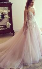 U-ausschnitt Langes Brautkleidbrautkleid Mit Applikationen Twb3592