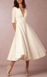 V-ausschnitt Tee Länge Satin Halbe Ärmel Lässig Vintage Kleines Weißes Kleid 1950er Jahre Hochzeitskleid GBWD229