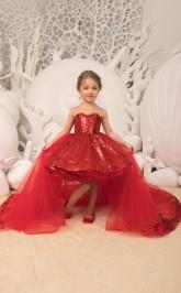 Neue Funkelnde Pailletten Kinder Mädchen Festzug Kleid Abnehmbaren Tüll Zug Hi Lo Kinder Weihnachten Geburtstagsfeier Kleid Mit Bogen Chk180