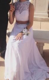 A-linie Chiffon Juwel Bodenlang Mit Perlen Zweiteiligen Kleid JTC3713