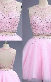 A-line Tüllschaufel Shortmini Mit Perlen Zweiteiliges Kleid JTC3803