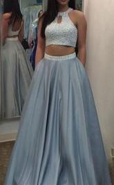 A-linie Satinhalfter Bodenlang Mit Perlen Zweiteiliges Kleid JTC3963