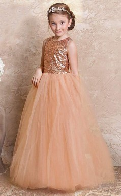 Prinzessin Juwel ärmellose nackte rosa Pailletten Tüll bodenlangen Kinder Ballkleid (GACH064)