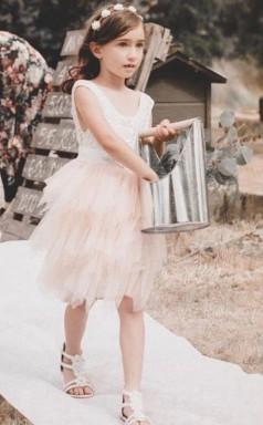 rosa erröten Blumenmädchen Kleider Spitze Applikationen Boho Mädchen Geburtstagskleid knielangen Tüll Festzug Erstkommunion GACH066