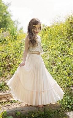 Gold Pailletten Boho-Chic Blumenmädchen Kleid Junior Brautjungfer Kleid GACH072