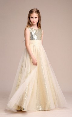 Champagner Pailletten Tüll Kinder Mädchen Geburtstagsfeier Kleid GBCH035