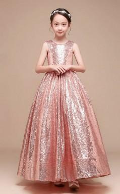 Erschwingliches Rosa Juwel Junior Brautjungfernkleid Bodenlanges Festzugskleid GBCH064