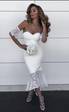 Elegantes Weißes Brautjungfernkleid Aus Spitze Schulterfrei Hochzeitsfestkleid BED0022