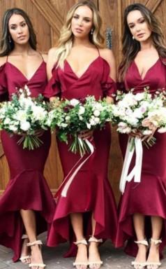 Sexy High-low Meerjungfrau Brautjungfernkleider Einfache Spaghetti-träger Rüschen Hochzeitskleider BED02022