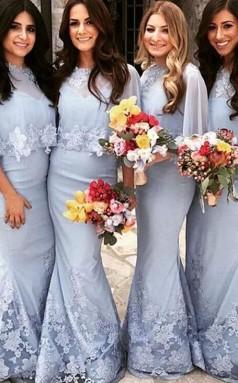 Elegante Schmetterlingsärmel Brautjungfernkleider Spitzenapplikationen Meerjungfrau Hochzeitskleider BED03212