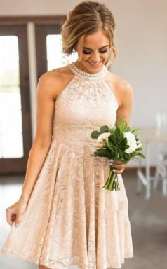 Nackte Spitze Kurze Brautjungfernkleider Perlen Neckholder Trauzeugin Kleid BED05242