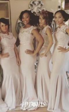 Spitzentop Meerjungfrau Brautjungfernkleider ärmellos Mit Schärpe Lange Formale Hochzeitskleider BEO90702