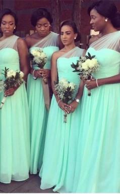 Ein Schulter Brautjungfernkleider Mint Langes Chiffon Hochzeitsgastkleid BEQ29842