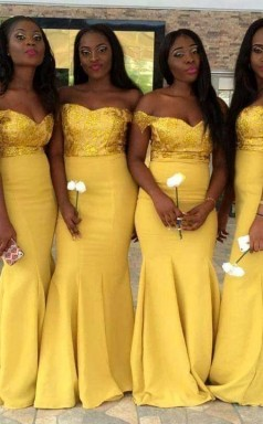 Neue Gelbe Meerjungfrau Brautjungfernkleider Pailletten Schulterfrei Trauzeugin Kleid BEQ42052