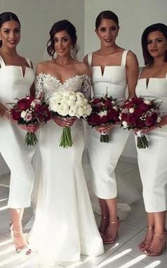 Schlichtes ärmelloses, Teelanges, Figurbetontes Brautjungfernkleid Mit Weißen Trägern BEQ44942