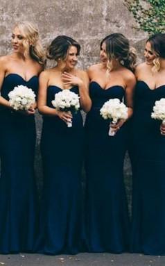 Marineblaues Billiges Meerjungfrau-abschlussballkleid Langes Brautjungfernkleid BEQ82722