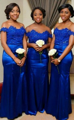 Königsblaues Meerjungfrau-brautjungfernkleid Schulterfreies Langes Hochzeitsfestkleid BEQ94492