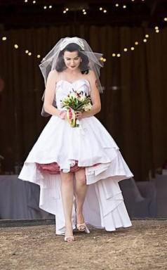 Weiß Rustikal Land Schatz Hoch Niedrig Hochzeitskleid Im Freien GBWD184