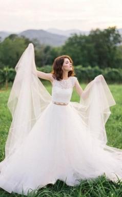 Spitze Flügelärmel Zweiteiliges Hochzeitskleid Hochzeiten Im Freien GBWD222