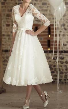 V-ausschnitt Tee Länge Spitze Halbe Ärmel Vintage Kleines Weißes Kleid 1950er Jahre Illusion Ärmel Brautkleid GBWD233