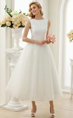 Rockabilly Tee Länge Einfaches Kleines Weißes Kleid 50er Jahre Hochzeitskleid GBWD234