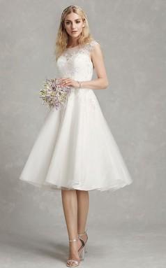 Rockabilly Tee Länge Spitze Flügelärmel Schöne Rückseite Im Freien Hochzeitskleid GBWD235