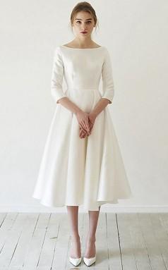 V-ausschnitt Tee Länge Satin Kurzarm Einfache Vintage Kleine Weiße Kleid GBWD238