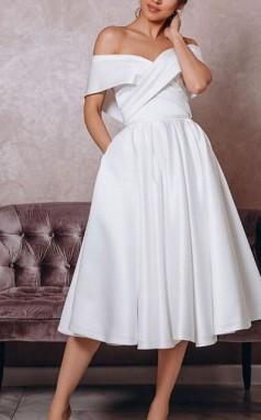 Schulterfreies Tee Länge Satin ärmelloses Vintage Kleines Weißes Kleid 1950er Jahre Hochzeitskleid GBWD244
