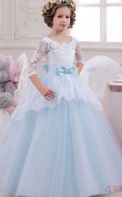 Prinzessin Halbarm Kinder Ballkleid Für Mädchen Mit Schleifen CH0127