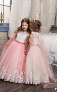 Tüll, Spitze Prinzessin Illusion ärmellose Kleider Für 10 Jahre Chk154