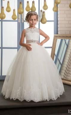 Tüll, Spitze Prinzessin Illusion ärmellose Kinder Abendkleider Chk162