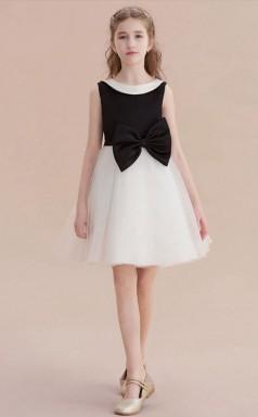 Kurze Kinder Mädchen Schwarz-weiß Formelle Kleider Mit Schleifen Chk164