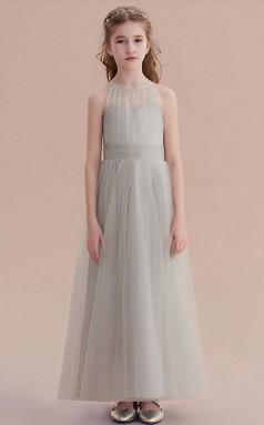 Lange Silberne Brautjungfernkleider Mit Neckholder Chk165