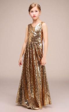 Lange V-ausschnitt Gold Squined Kinder Festzug Kleider Chk172