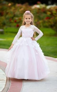 Rosa Blumenmädchen Kleid Langarm Spitze Mädchen Hochzeitsfeier 1. Geburtstag Baby Kleinkind Prinzessin Besonderen Anlass