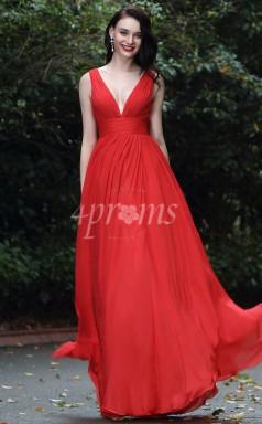 GEBD007 Rote Brautjungfernkleider Mit V-ausschnitt