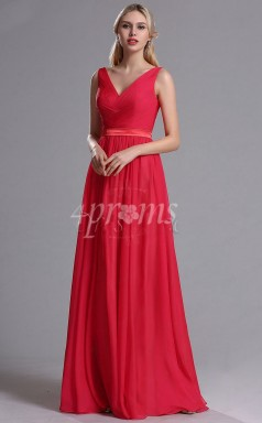 GEBD018 Rote Brautjungfernkleider Mit V-ausschnitt Und Gerüschtem Oberteil
