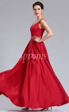 GEBD022 Rubinrote Brautjungfernkleider Mit V-ausschnitt Und Perlenbund