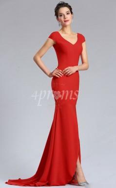 GEBD023 Rote Brautjungfernkleider Mit V-ausschnitt