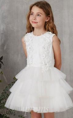 Weißes Organza Juwel Kurzarm Mini Prinzessin Kinder Ballkleid (FGD270)