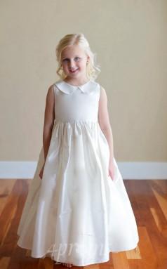Elfenbein Taft Juwel ärmelloses Knöchellanges A-linie Kinder Abendkleid (FGD283)