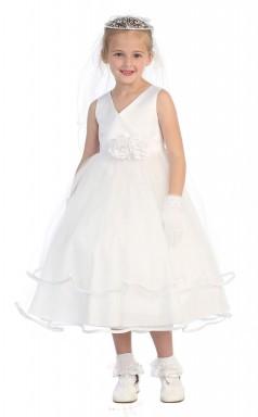 Weißes Charmeuse Organza V-ausschnitt ärmelloses Teelanges A-line Kinderballkleid (FGD290)