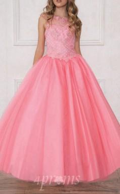 Süßigkeiten Rosa Tüll Taft Illusion ärmelloses Knöchellanges Prinzessin Kinder Ballkleid (FGD297)