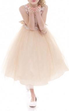 Champagner Tüll Juwel ärmelloses Tee-länge Prinzessin Kinder Ballkleid (FGD298)