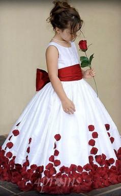 Ballkleid Blumenmädchen Kleider Für Hochzeiten Party Wein Rot Mit Schleifen Fegen Zug Crew Kleine Mädchen Festzug Kleid Erstkommunion Kleider FGD449