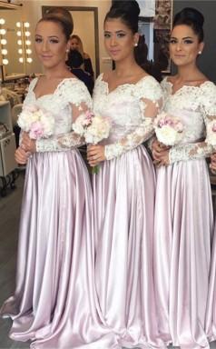 Weiß-spitze Langarm Rosa V-ausschnitt Beliebtes Elegantes Brautjungfernkleid JJ01482