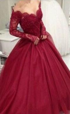 Ballkleid V-ausschnitt Lange Ärmel Bodenlanges Spitze Tüll Kleid JTC19043