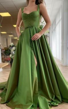 A-lineprincess Zuggurte Satin Rüschen Kleid JTC24983
