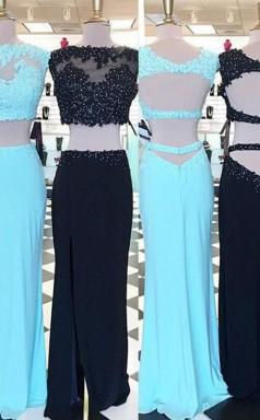Scheide Satin Schaufel Bodenlang Mit Applikation Zweiteiliges Kleid JTC3793